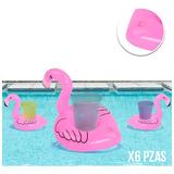6 Portavasos Flamingo Inflables Fiesta Alberca Piscina Play