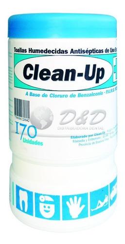 Toallitas Húmedas Antibacteriales Pote X 170u Clean Up