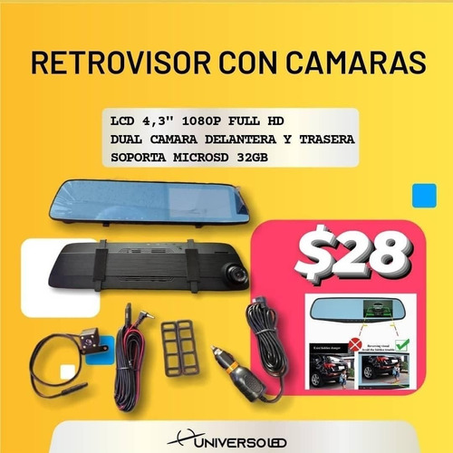 Retrovisor Tipo Espejo Con Camara Delantera Y De Reversa Foto 1