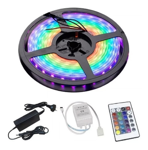 Tira Luces Led Kit Completo Rgb 5050 Control Fuente Colores