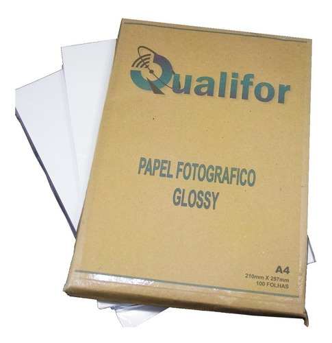 100 Folhas Papel Foto Glossy 180g A4 Brilho Prova D'agua