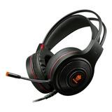Headset Gamer Evolut Têmis Eg301 Preto E Vermelho Com Luz Led