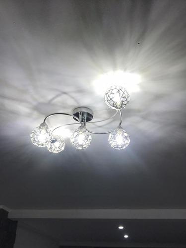 Aplique De Luz De Techo 5 Esferas Led Cromada