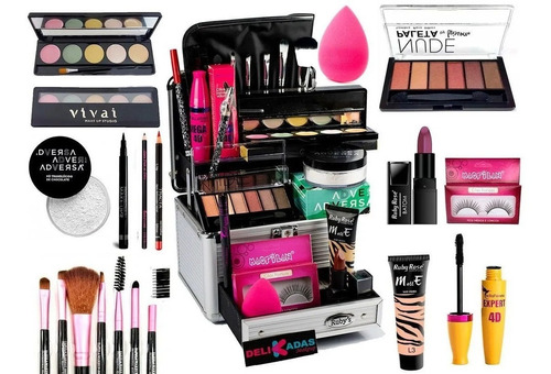 Maleta De Maquiagem Completa Ruby Rose Essencial
