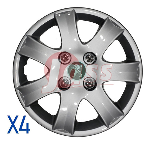 4 Tazas Peugeot 206 207 208 Partner Rodado 14 Pulgadas