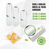 Pack 3 Rollo Gofrado  Bolsa Envasado Al Vacío 5mts