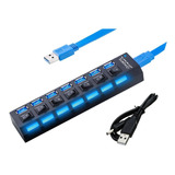 Hub Usb 3.0 Multiplicador 7 Puerto Switch Led + Cable Fuente