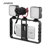 Andoer Smartphone Video Rig Grip Con Rig Dual Led Luz Micróf