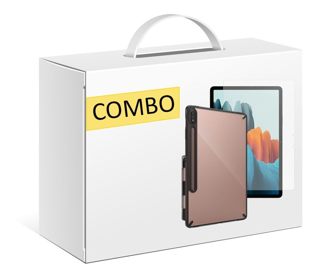 COMBO FUNDA RINGKE FUSION SAMSUNG GALAXY TAB S7 PLUS SMOKE BLACK + VIDRIO TEMPLADO