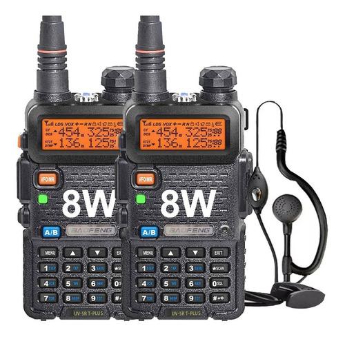 Kit X 2 Handy Baofeng Uv5r 8w Bibanda Radio Walkie Talkie Vhf Uhf + Auricular Manos Libres