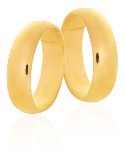 Par De Alianças De Casada Forrada  Ayla 6mm Em Ouro 18k