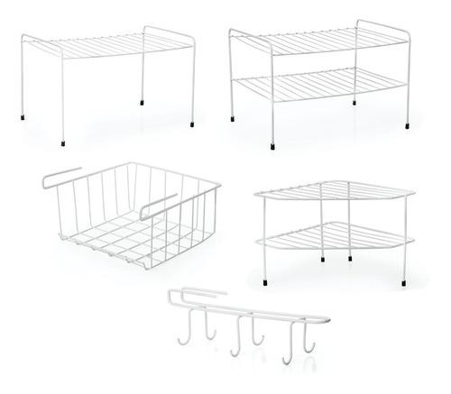 Kit Organizador P/ Cozinha E Armário 5pç Cesto Xícara Branco