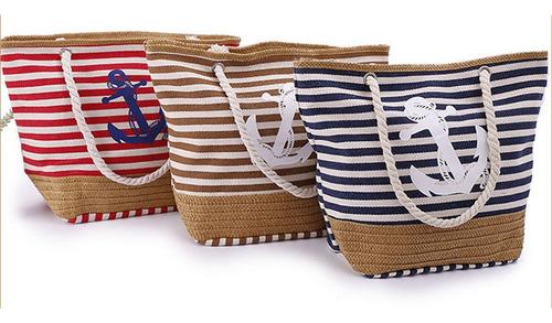 Bolso De Playa Para Mujer, Diseño De Rayas Con Flecos