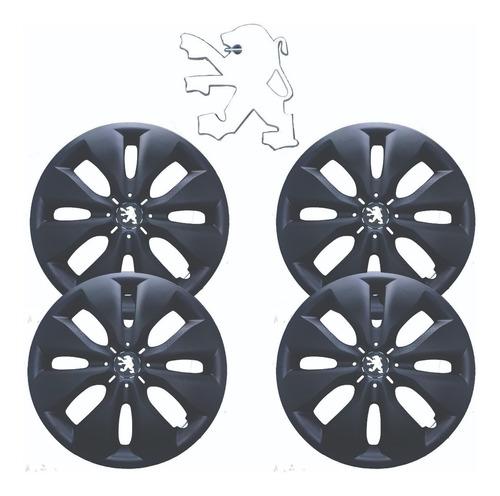 Juego 4 Tazas Univ Revolution Negro Mate 14 P. +logo Peugeot