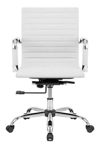 Cadeira De Escritório Show De Cadeiras Diretor Giratória Charles Eames  Branca Com Estofado Do Couro Sintético