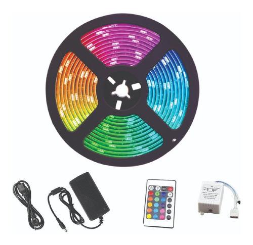Cinta Led Multicolor Rgb Luz 5050 5mts + Control + Adaptador