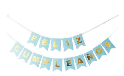 Guirnalda Feliz Cumpleaños Celeste Con Letras Doradas X 1