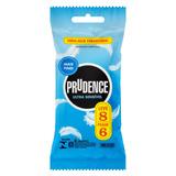 Preservativo Masculino Lubrificado Ultra Sensível Prudence Pacote Leve 8 Pague 6 Unidades