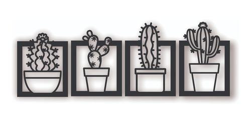 Cuadro Artesanal Cuadriptico Cactus Calado En Mdf - 125x25cm