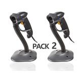 Pack X2 Lector Codigo De Barra Laser Usb Con Base