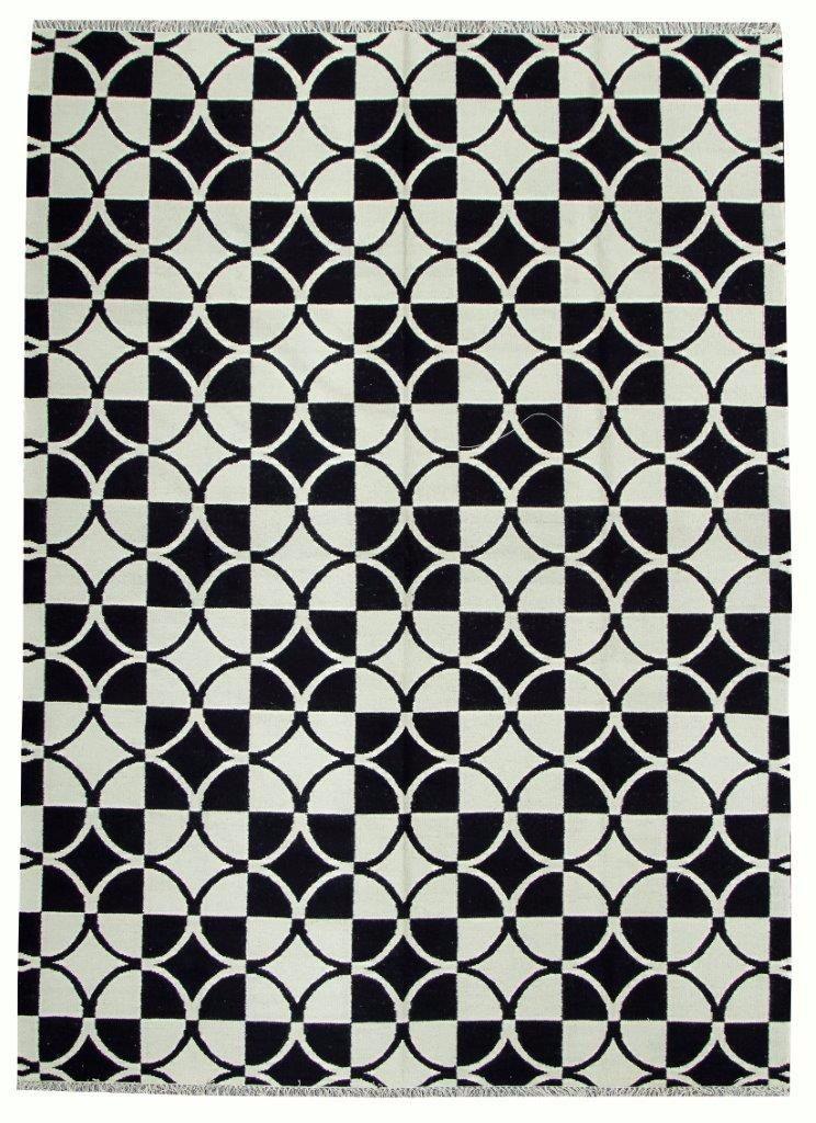 Tapete Kelim 3.5x2.5m Geometrico Epic Preto Branco 2.5x3.5m
