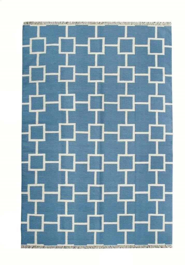 Tapete Kelim Indiano Geometrico 2,5x2m 250x200cm Azul Claro