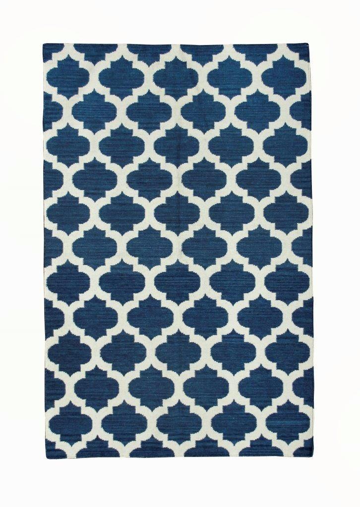 Kelim Indiano Geometrico Azul Marinho 2.5x1.5m 244x152cm