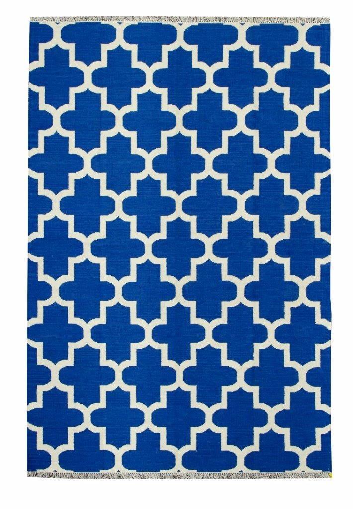 Tapete Kelim Indiano Geometrico Azul Epic 1,5x2m 2x1,5m