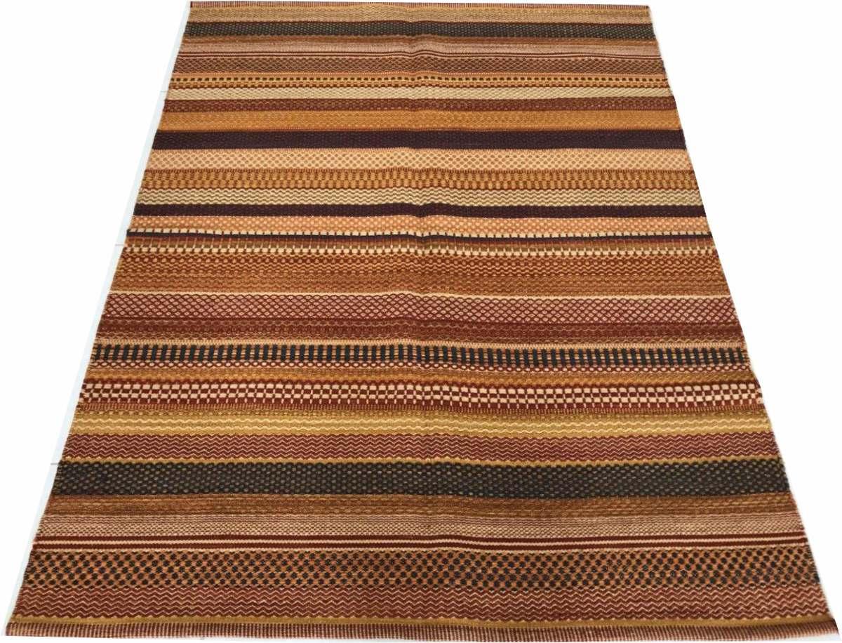Tapete Kelim Indiano Listras Stripe Pasteis 2.5x3.5m 3.5x2.5