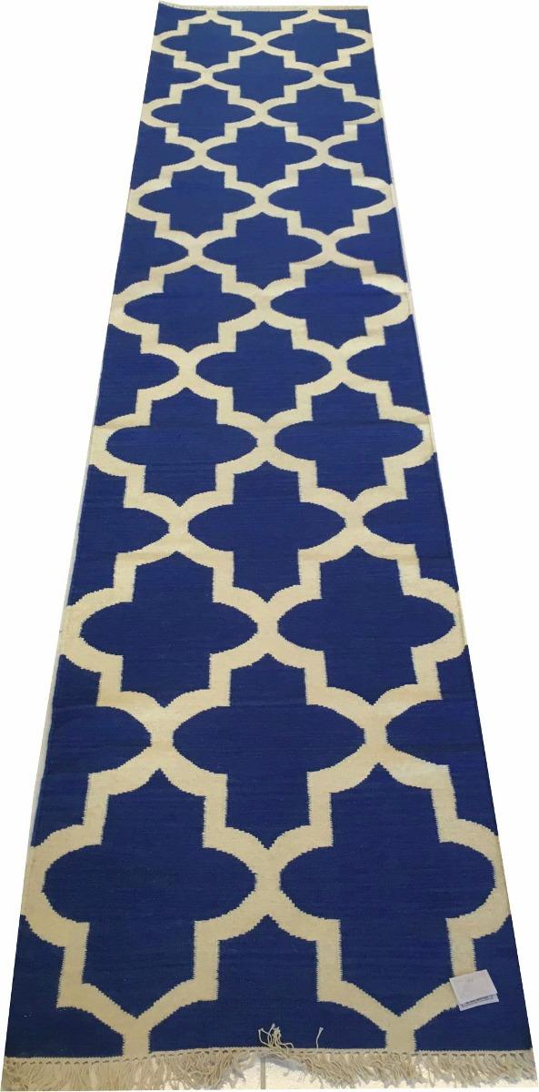 Tapete 4m 4x0,8m Kelim Indiano Geometrico Azul Artesanal