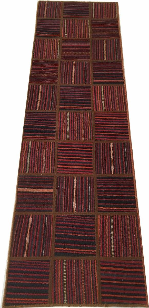 Passadeira 2m Kelim Jadim Patchwork 193x57cm Persa Handmade