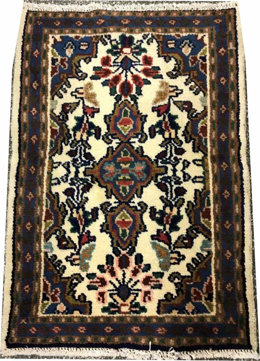 Tapete Persa Hamadan 75x50cm Handmade Fundo Bege Rustico