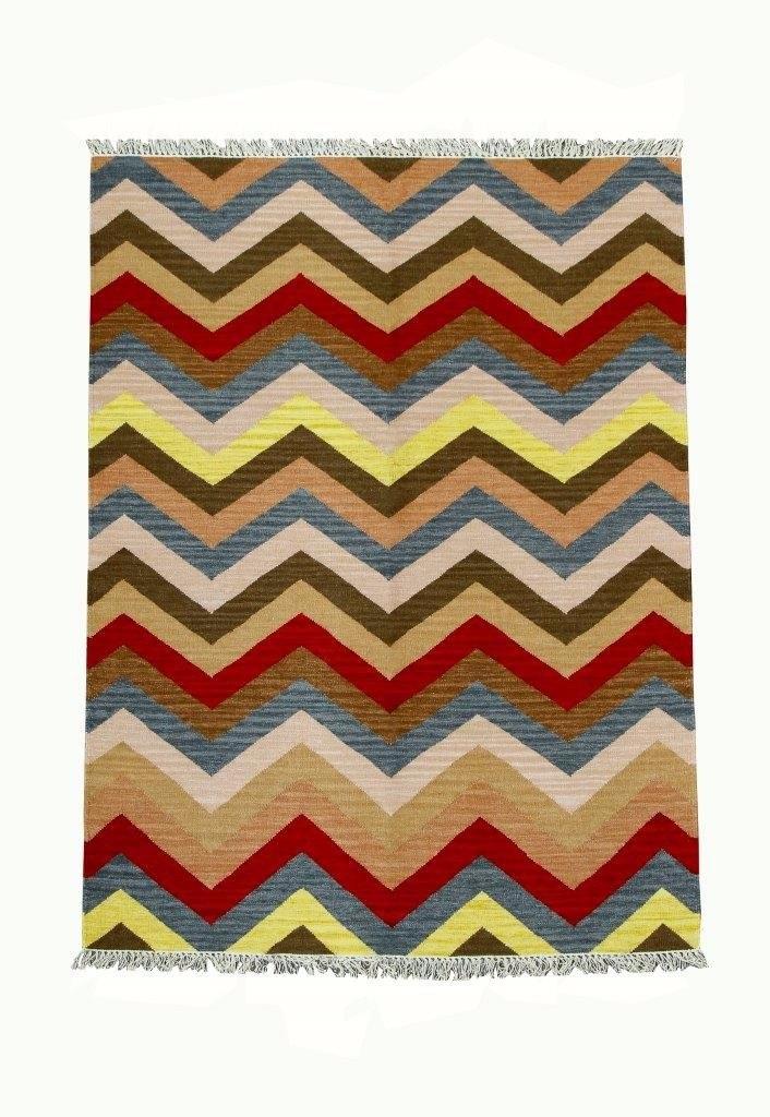 Tapete Kelim Indiano Listrado Chevron Color 200x150cm 2x1,5m