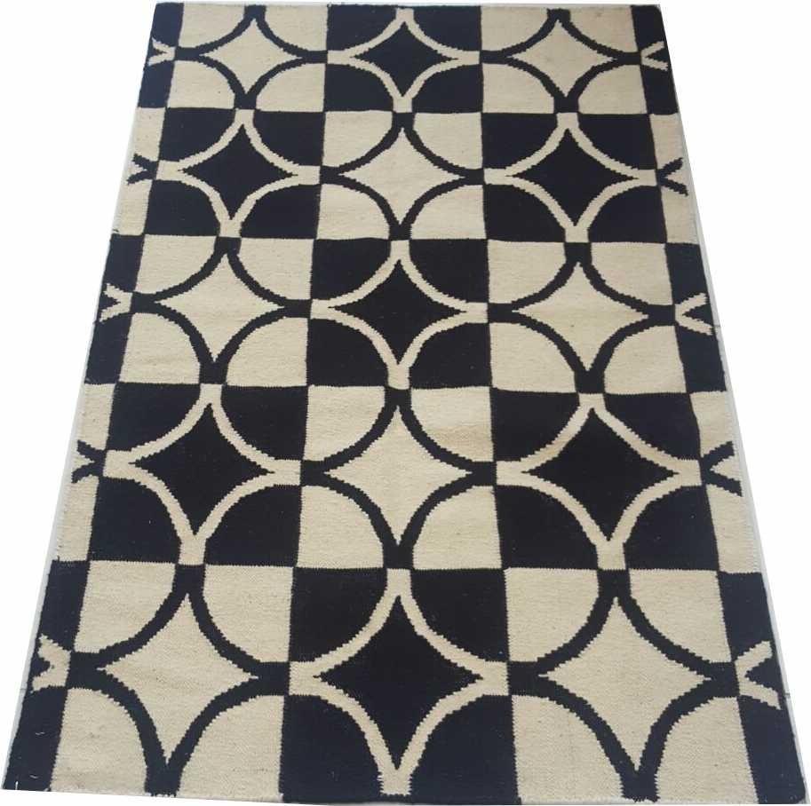 Tapete Kelim 1.5x1m Geometrico Epic Preto E Branco 1x1.5m