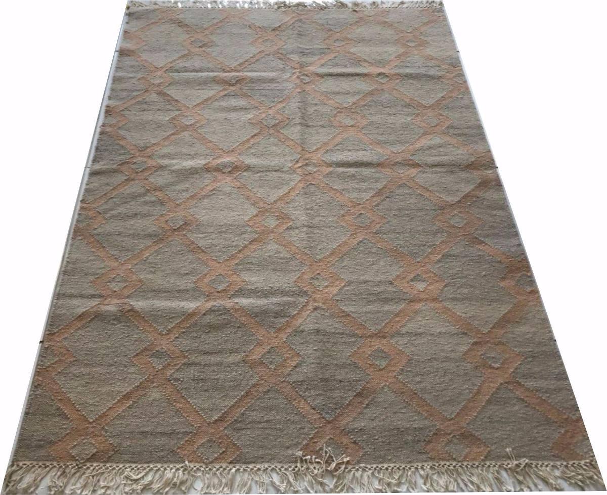 Tapete Kelim Indiano Antique 1.8x1.2m Geometrico Rosa Salmão