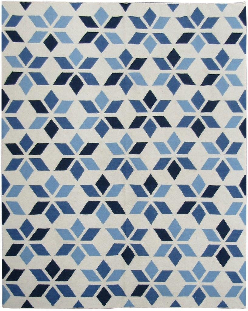 Tapete Kelim Indiano Geometrico Azul 2,5x2m 2x2,5m 200x251cm