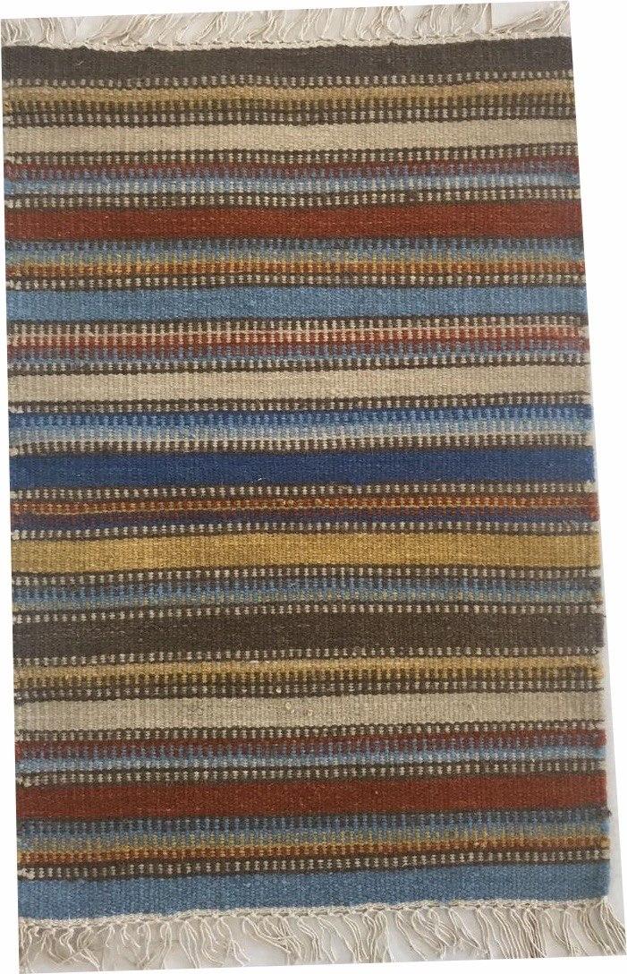Tapete Kelim Indiano Listrado Stripe Colorido 90x60cm Lã
