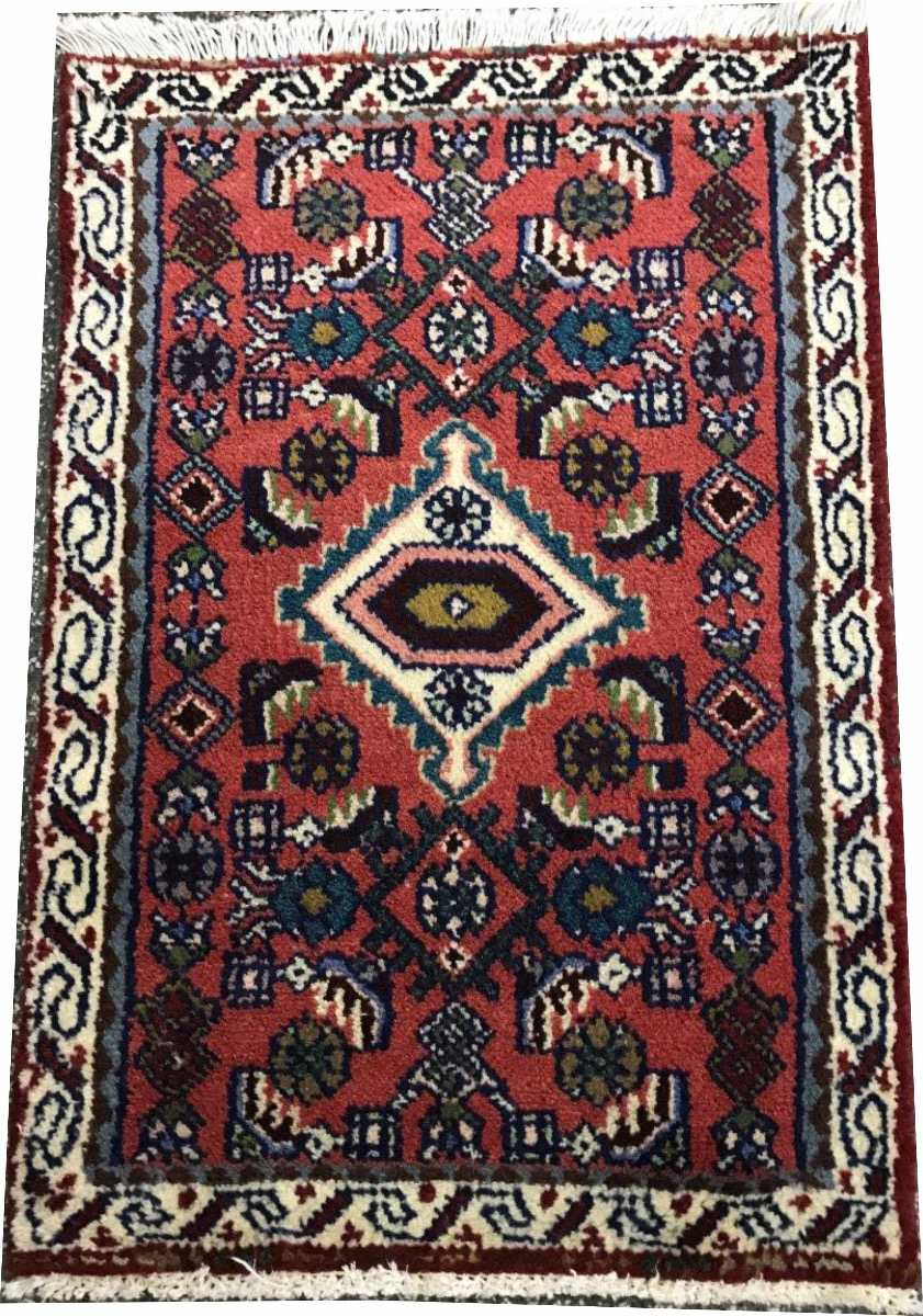 Hamadan 90x60cm Handmade Legitimo Tapete Persa Rustico 3845