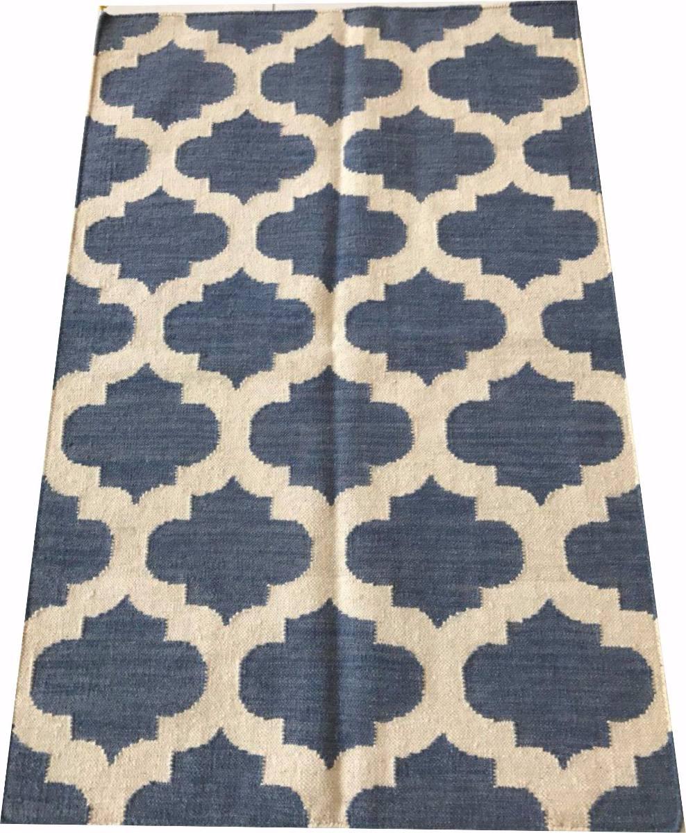 Tapete Kelim Geometrico Azul 1.5x1m Indiano Artesanal 148x95