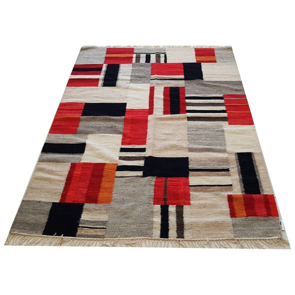 Tapete Kelim Ikat Geometrico 2x1.5m Vermelho Casa Claudia