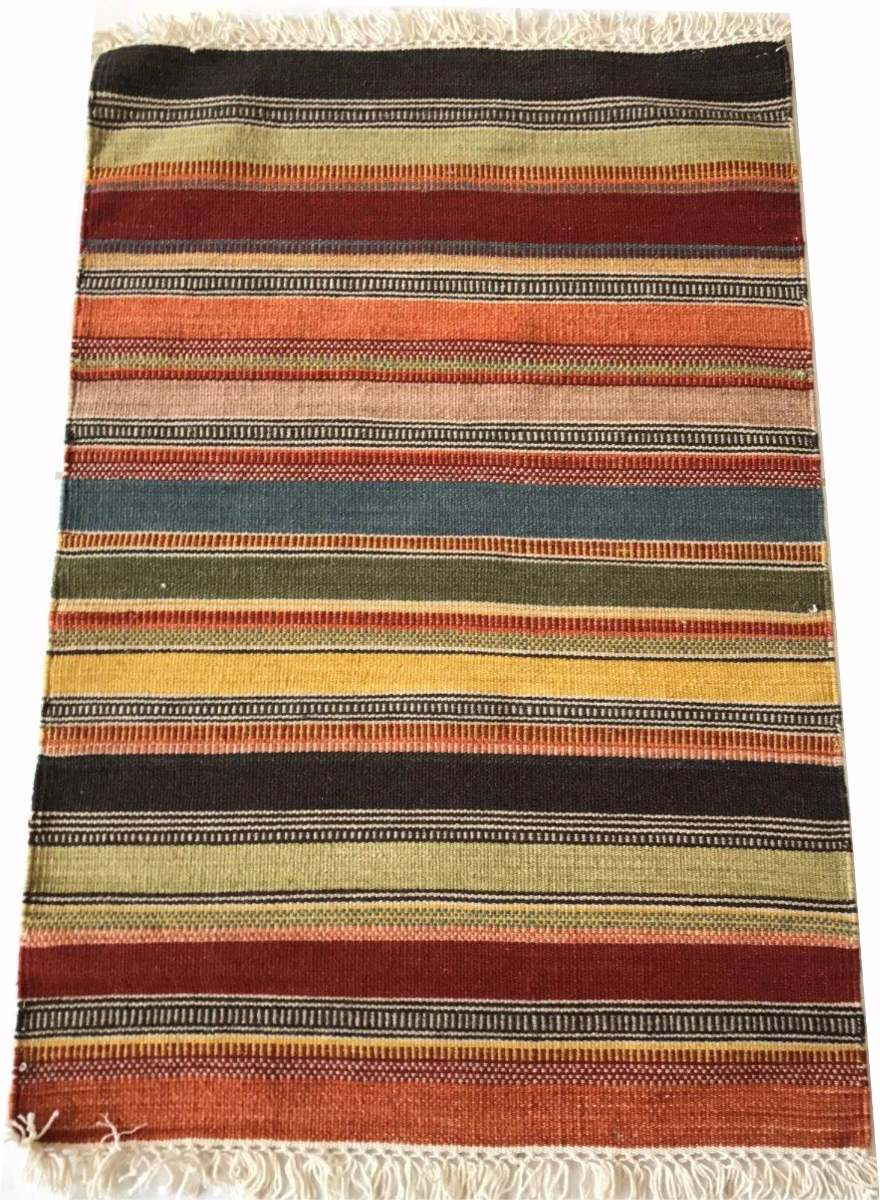 Tapete Kelim Indiano Listrado Stripe Colorido 90x60cm Tempar