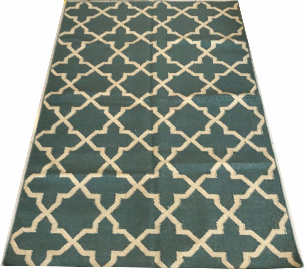 Tapete Kelim Verde Indiano 1.8x1.2m Geometrico 180x120cm