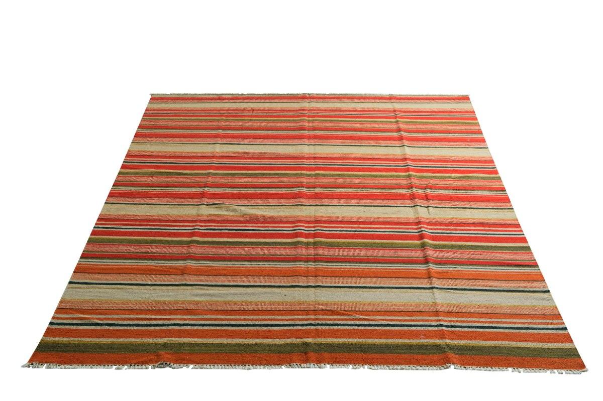 Tapete Kelim Stripe Indiano 350x250cm Artesanal 3,5x2,5m