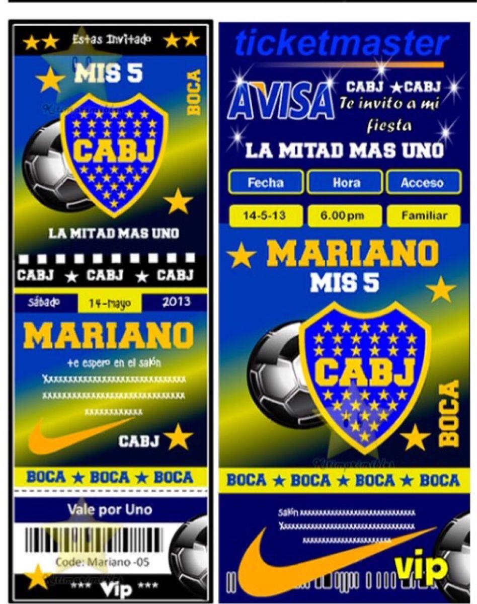 Tarjetas Cumpleaños Boca Juniors Para Imprimir