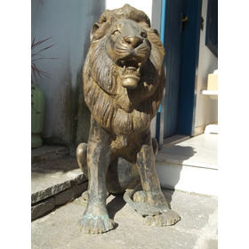 (sergioschw) Escultura Leão Bronze, Tipo Cão De Fô 87 Cm