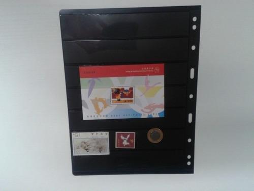 # 10 folha p/ album de selo acetato 7 tiras cristal 1ª linha