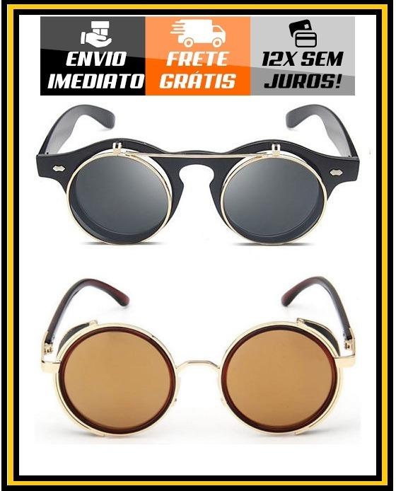 2    Óculos Sol Steampunk Redondo Vintage Retrô Flip - R  99,00 ... 0935c9b48a