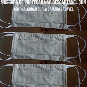 3 Mascara Tecido Proteção 100% Algodão Dupla Camada Lavável