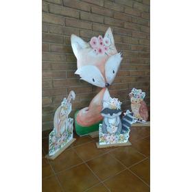 5 Gigantografía Silueta Zorrito Bambi  Mapache Conejo Búho