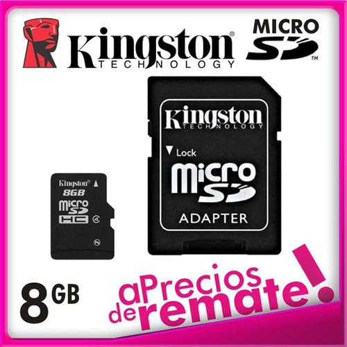 ¡ 8gb memoria microsd kingston micro sd y adapt a sd new !!